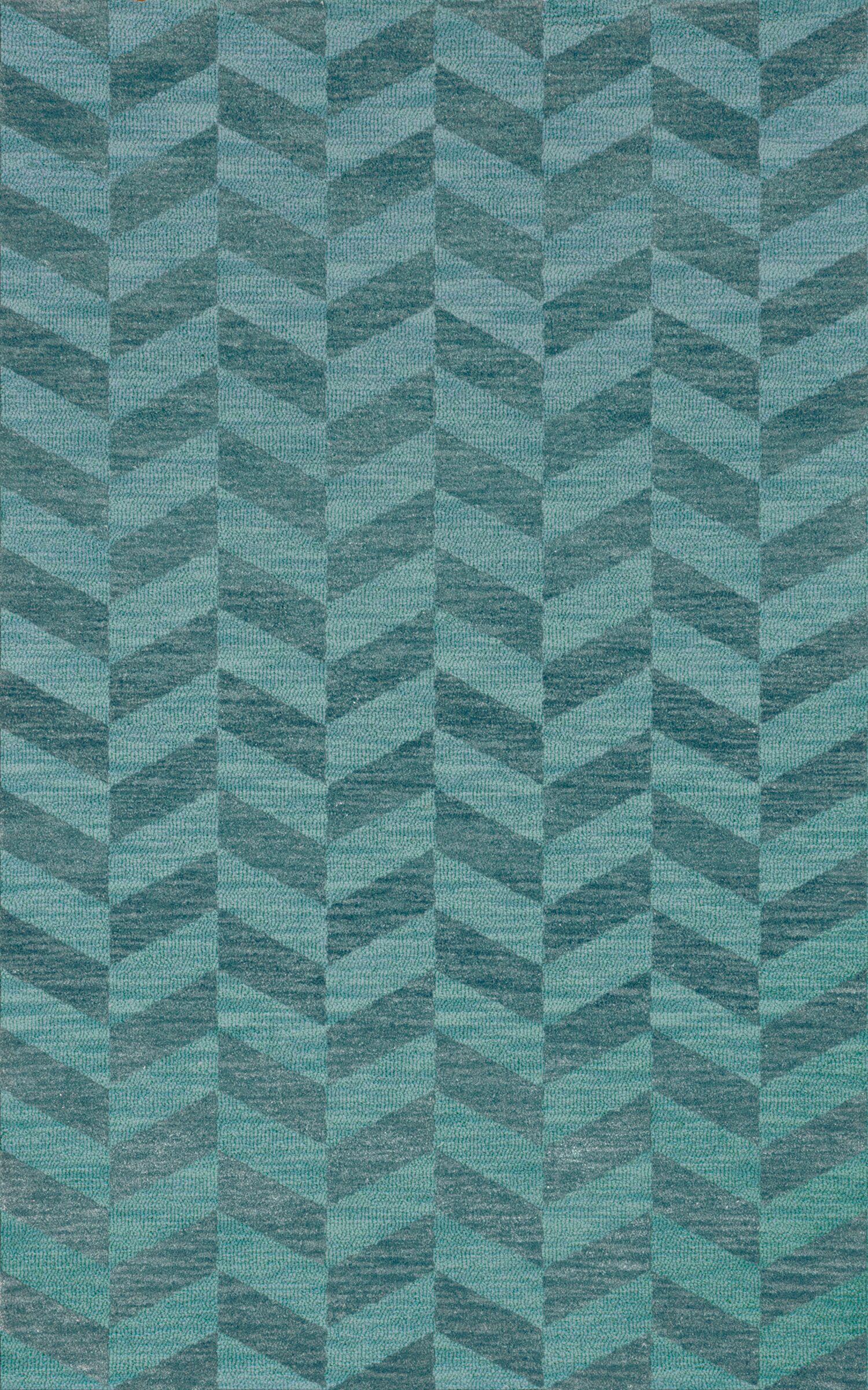 Bella Machine Woven Wool Blue Area Rug Rug Size: Rectangle 3' x 5'