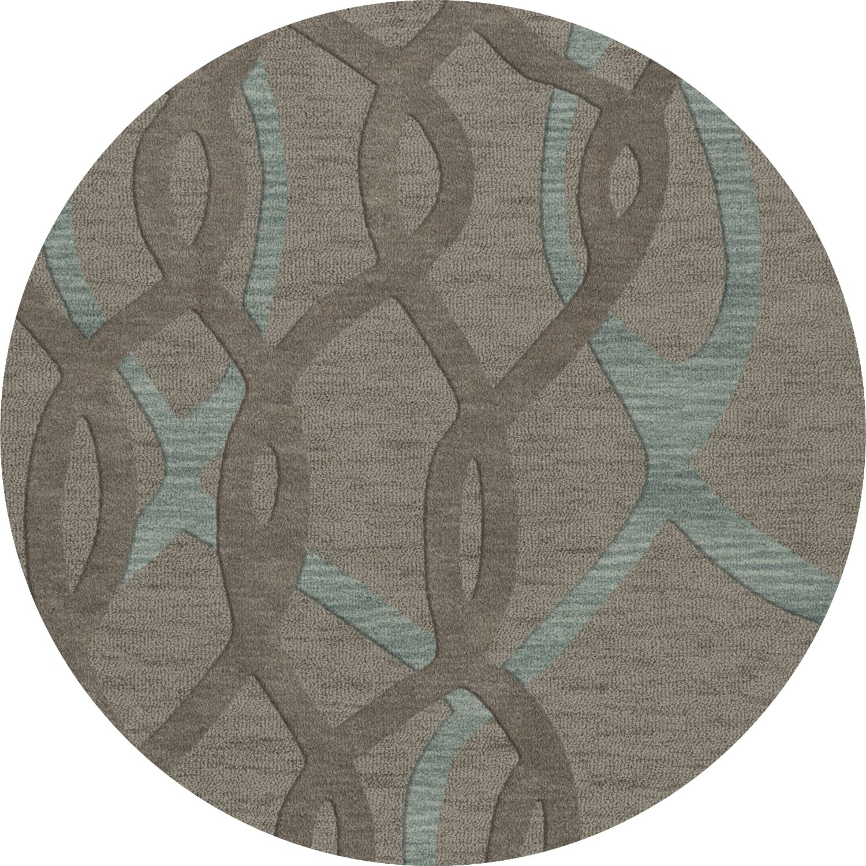 Bella Machine Woven Wool Gray Area Rug Rug Size: Round 4'