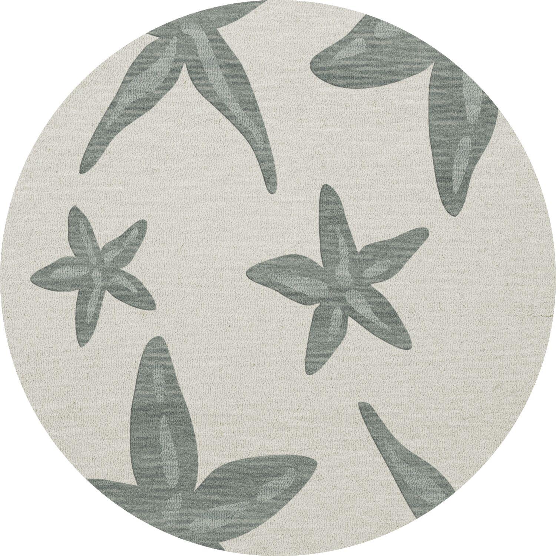 Bella Machine Woven Wool Gray Area Rug Rug Size: Round 6'