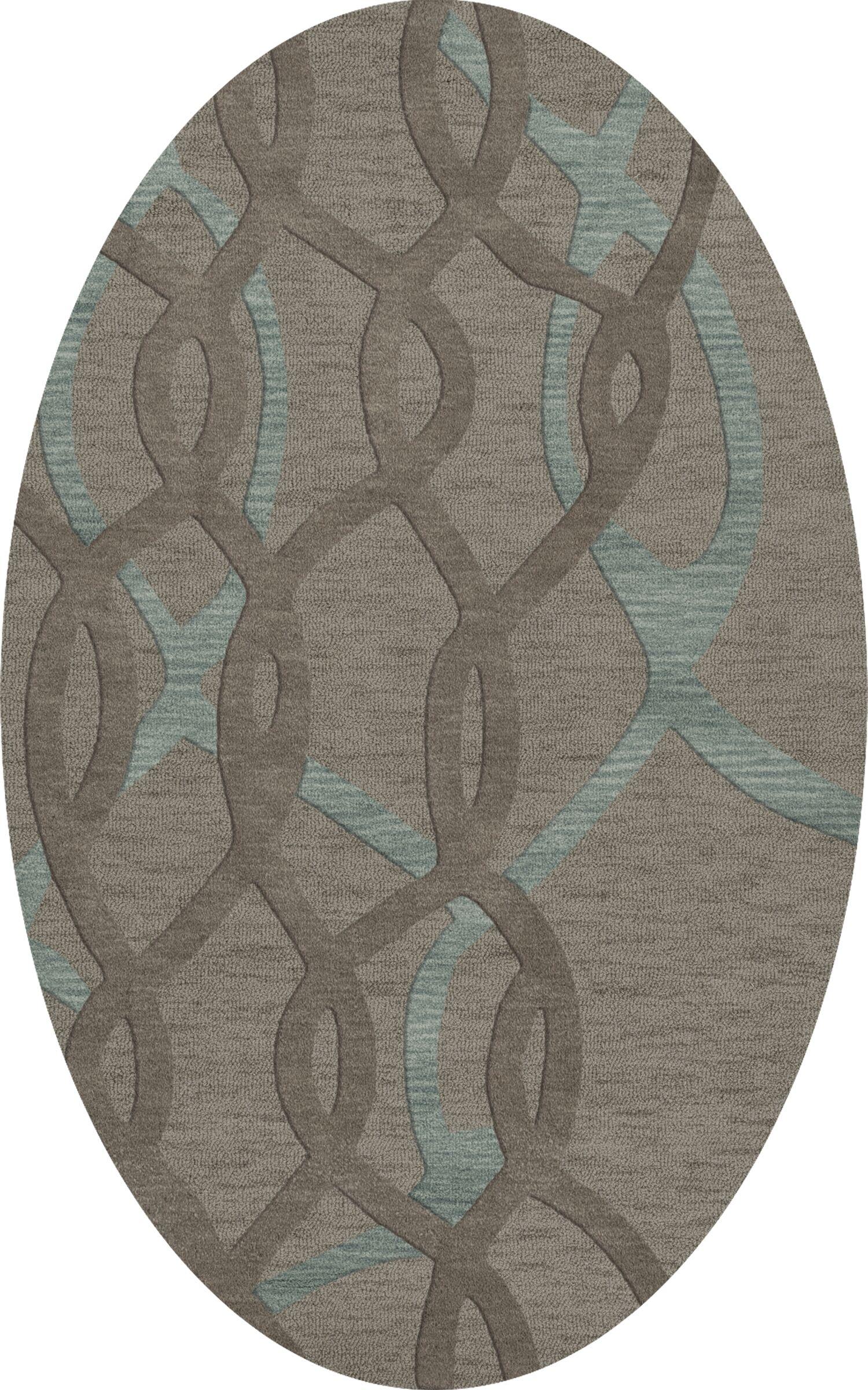 Bella Machine Woven Wool Gray Area Rug Rug Size: Oval 10' x 14'
