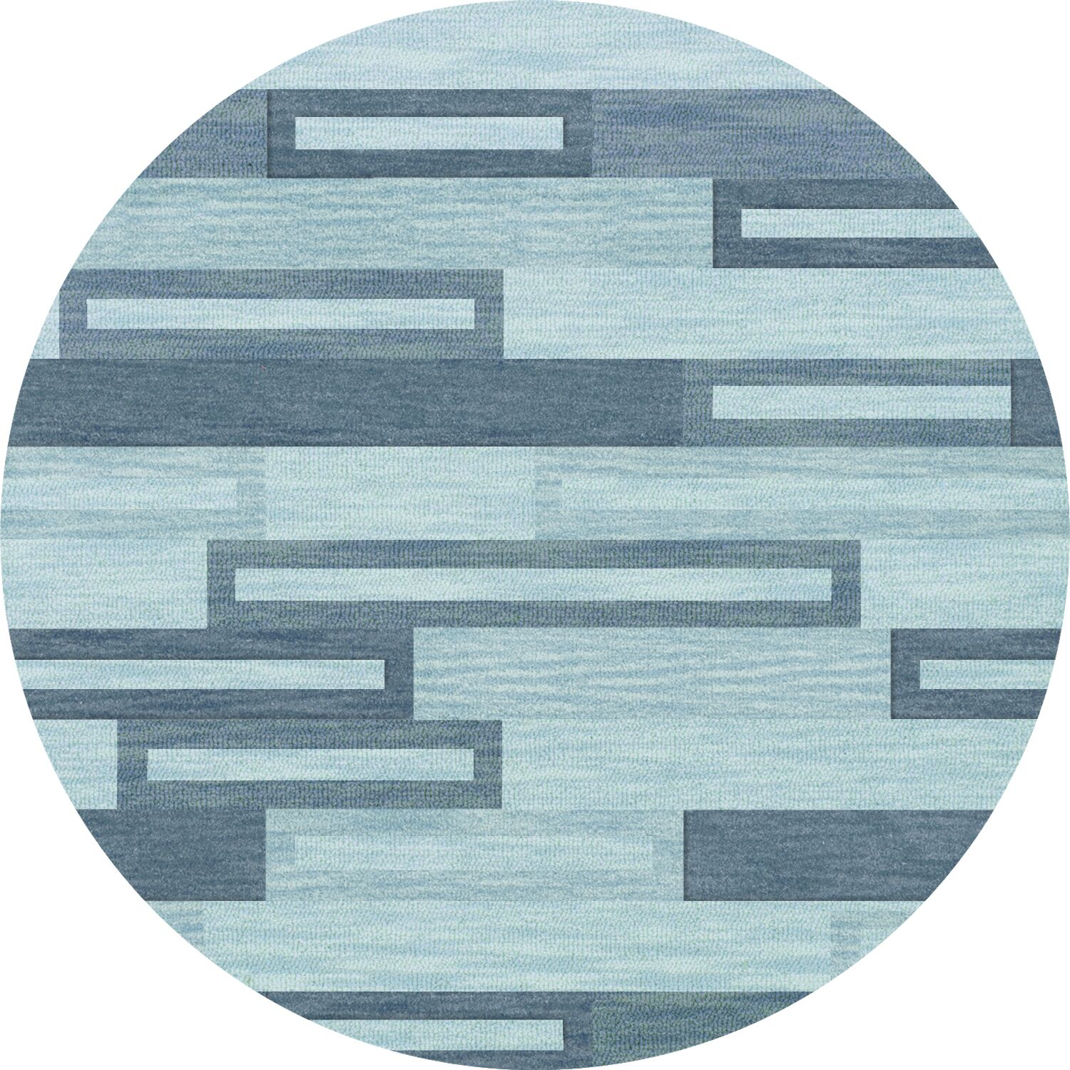 Bella Machine Woven Wool Blue Area Rug Rug Size: Round 8'