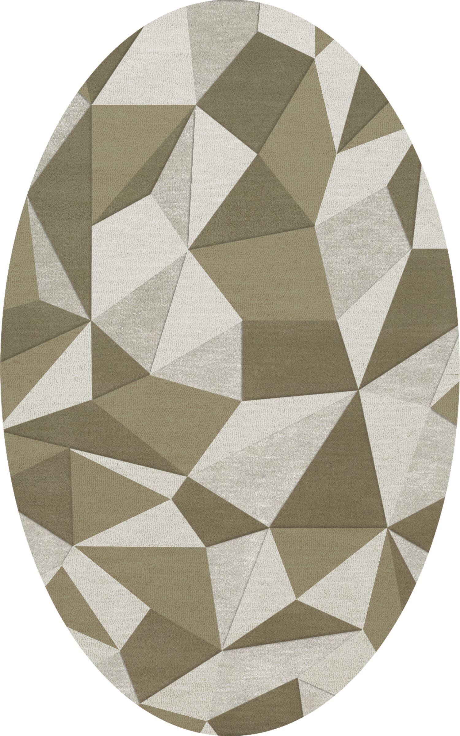 Bella Machine Woven Wool Beige/Gray Area Rug Rug Size: Oval 5' x 8'