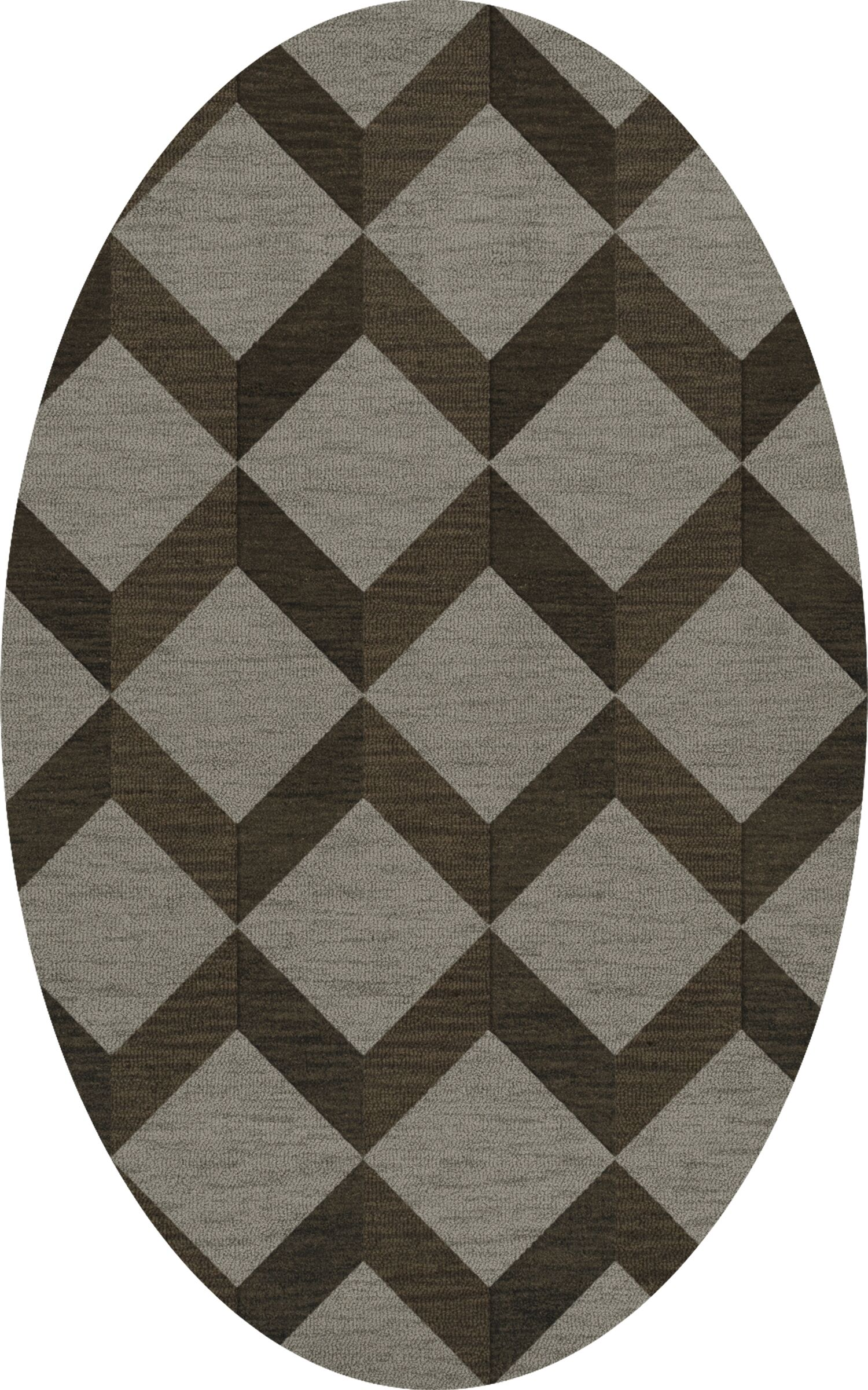 Bella Machine Woven Wool Brown/Gray Area Rug Rug Size: Oval 4' x 6'