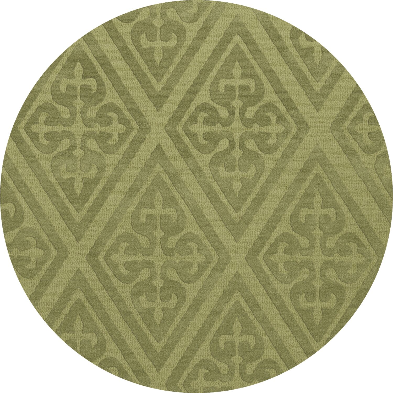 Bella Machine Woven Wool Green Area Rug Rug Size: Round 6'