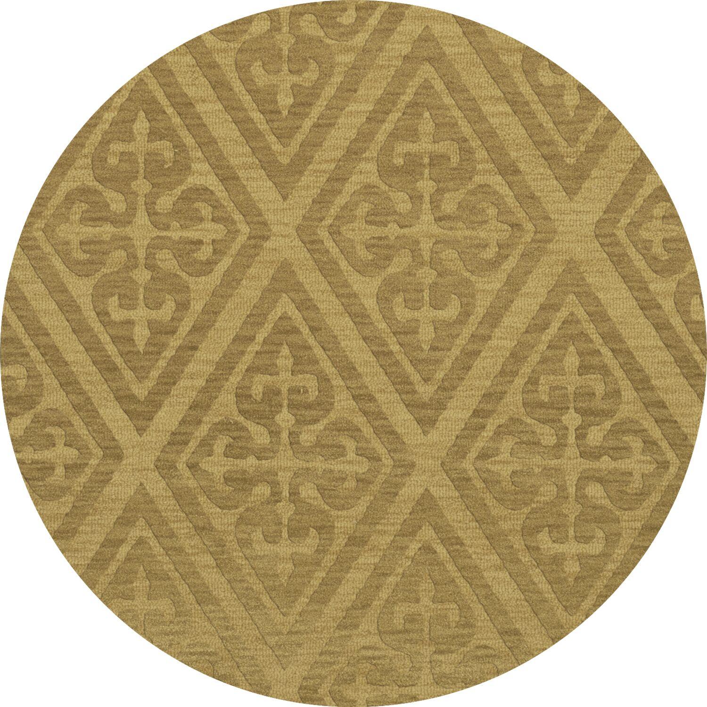Bella Machine Woven Wool Beige Area Rug Rug Size: Round 6'