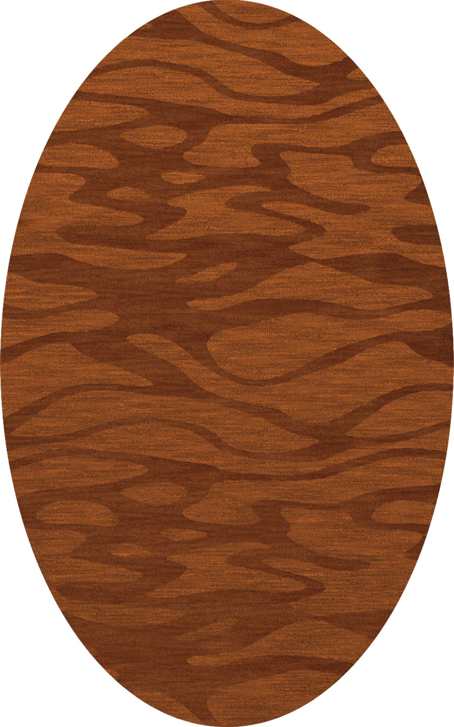 Bella Rust/Orange Area Rug Rug Size: Oval 4' x 6'