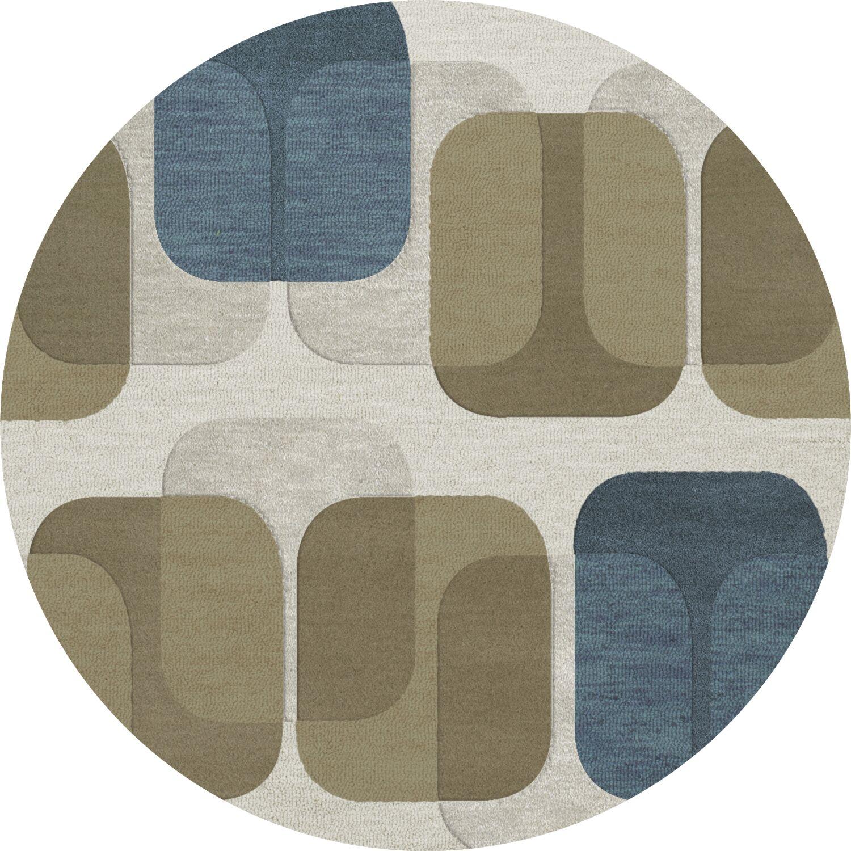 Bella Machine Woven Wool Gray/Brown Area Rug Rug Size: Round 12'