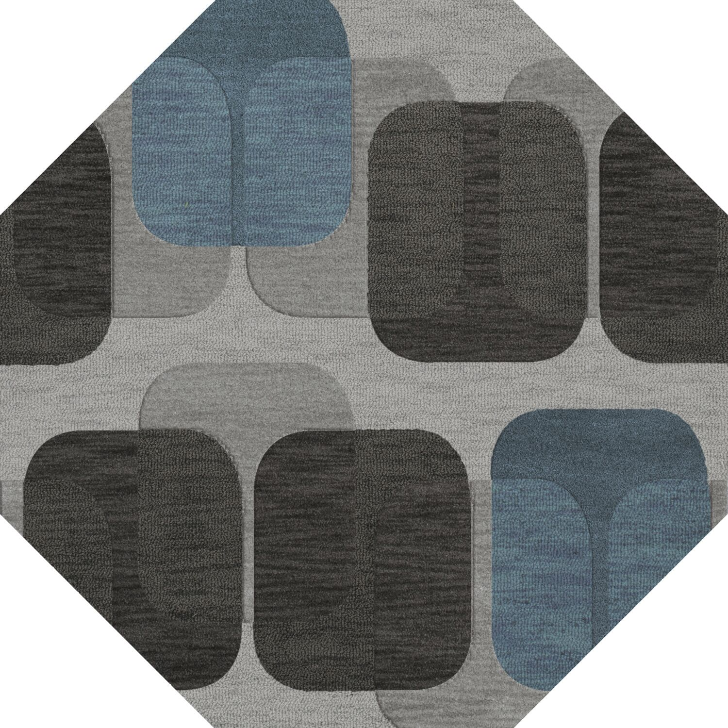 Bella Machine Woven Wool Gray/Black Area Rug Rug Size: Octagon 4'