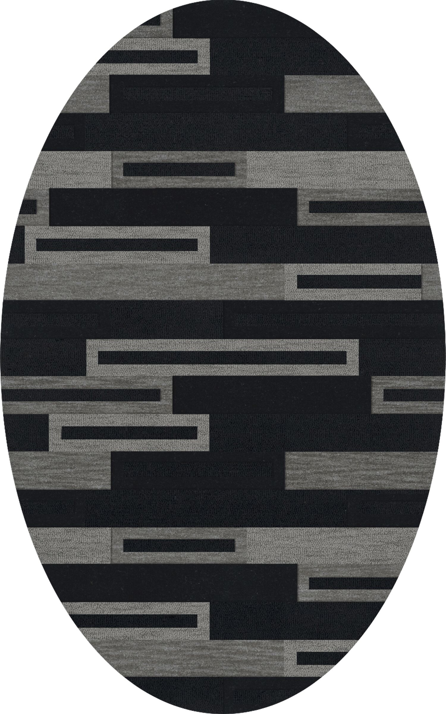Bella Machine Woven Wool Black/Gray Area Rug Rug Size: Oval 3' x 5'