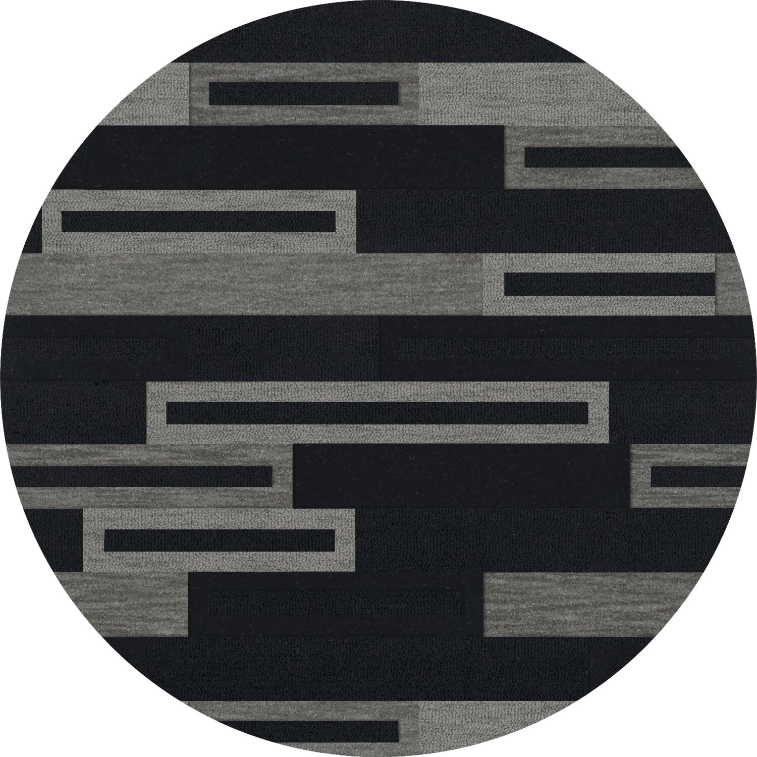 Bella Machine Woven Wool Black/Gray Area Rug Rug Size: Round 12'