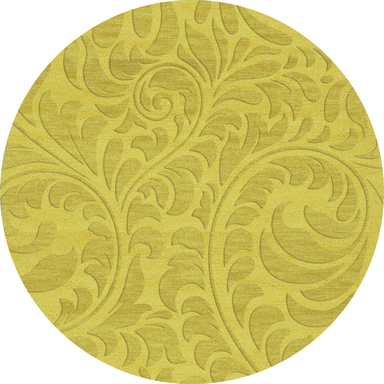Bella Machine Woven Wool Yellow Area Rug Rug Size: Round 12'