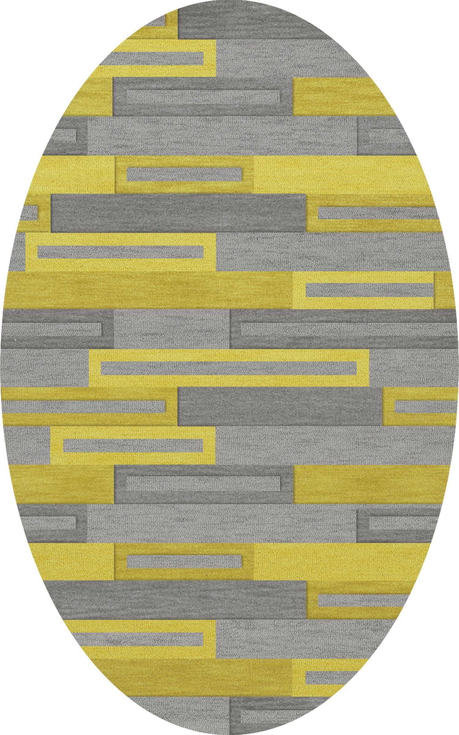 Bella Machine Woven Wool Gray/Yellow Area Rug Rug Size: Oval 12' x 18'