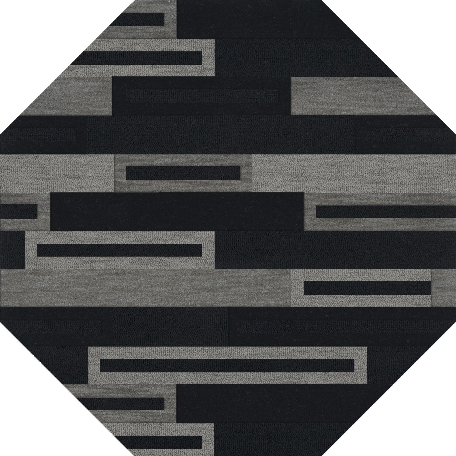 Bella Machine Woven Wool Black/Gray Area Rug Rug Size: Octagon 4'