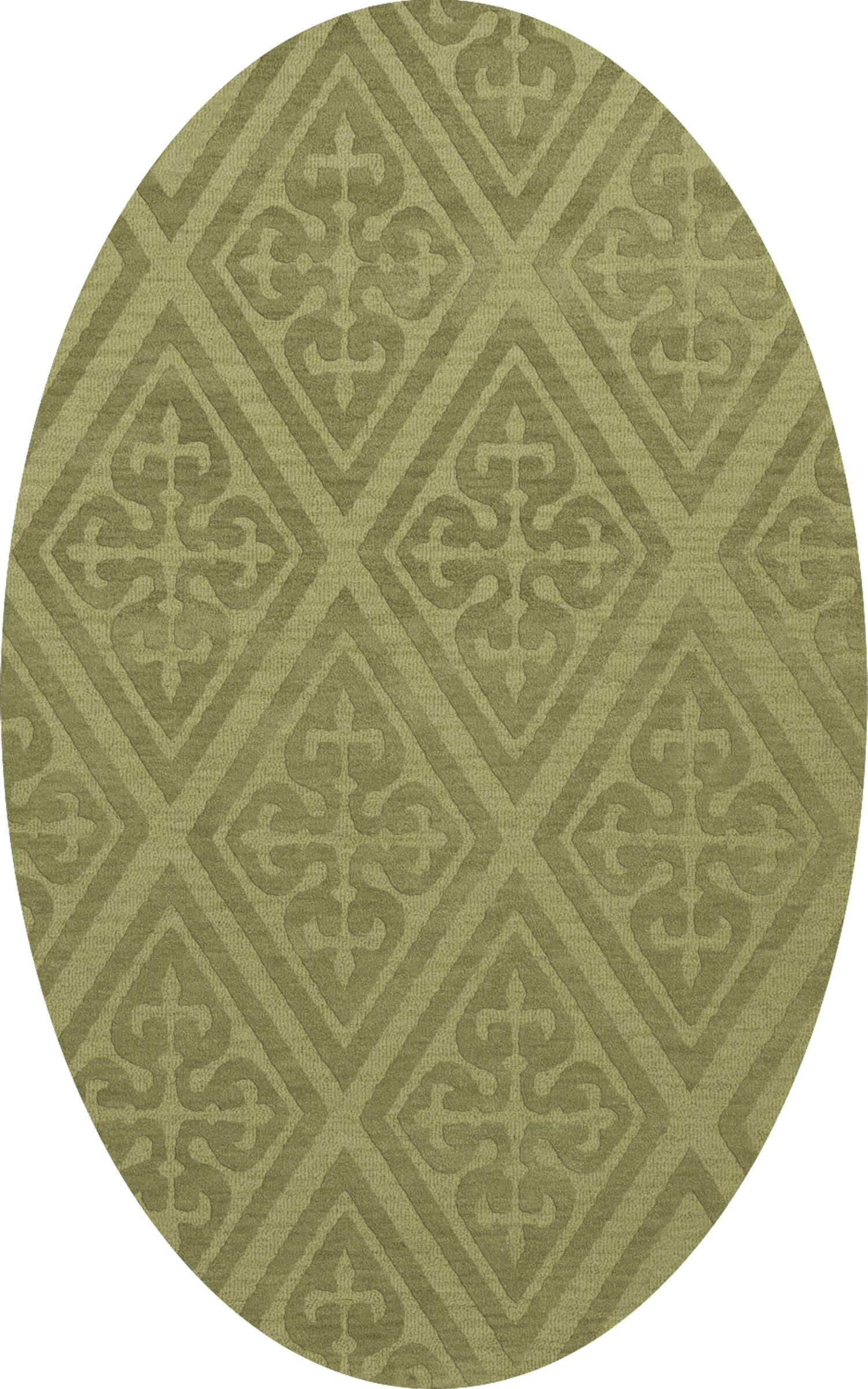Bella Machine Woven Wool Green Area Rug Rug Size: Oval 12' x 18'