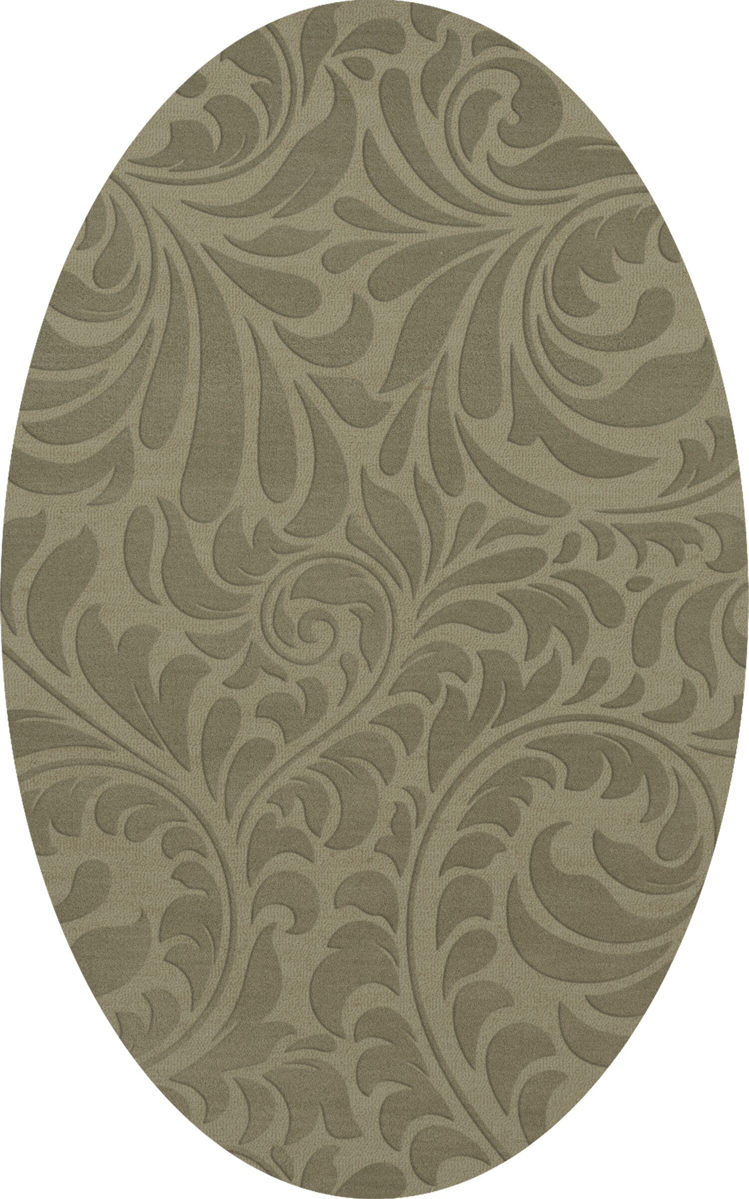 Bella Machine Woven Wool Gray Area Rug Rug Size: Oval 12' x 18'