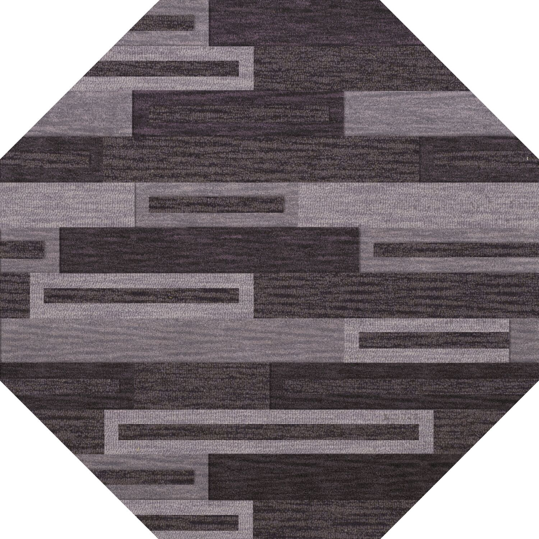 Bella Machine Woven Wool Black/ Gray Area Rug Rug Size: Octagon 6'