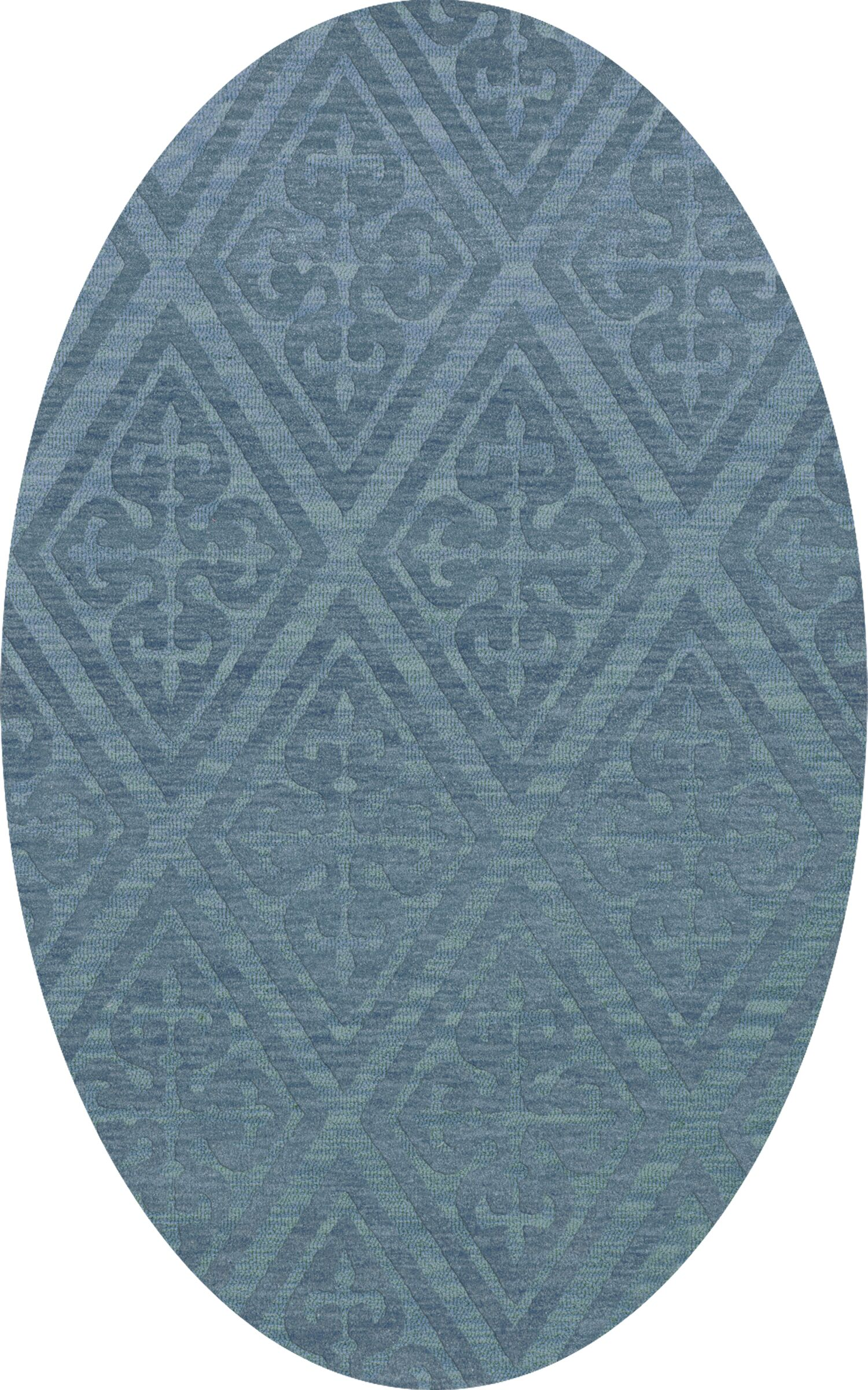 Bella Machine Woven Wool Blue Area Rug Rug Size: Oval 12' x 15'