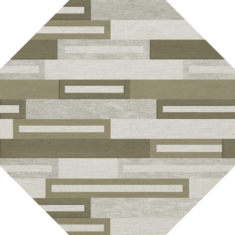 Bella Machine Woven Wool Gray/ Brown Area Rug Rug Size: Octagon 4'