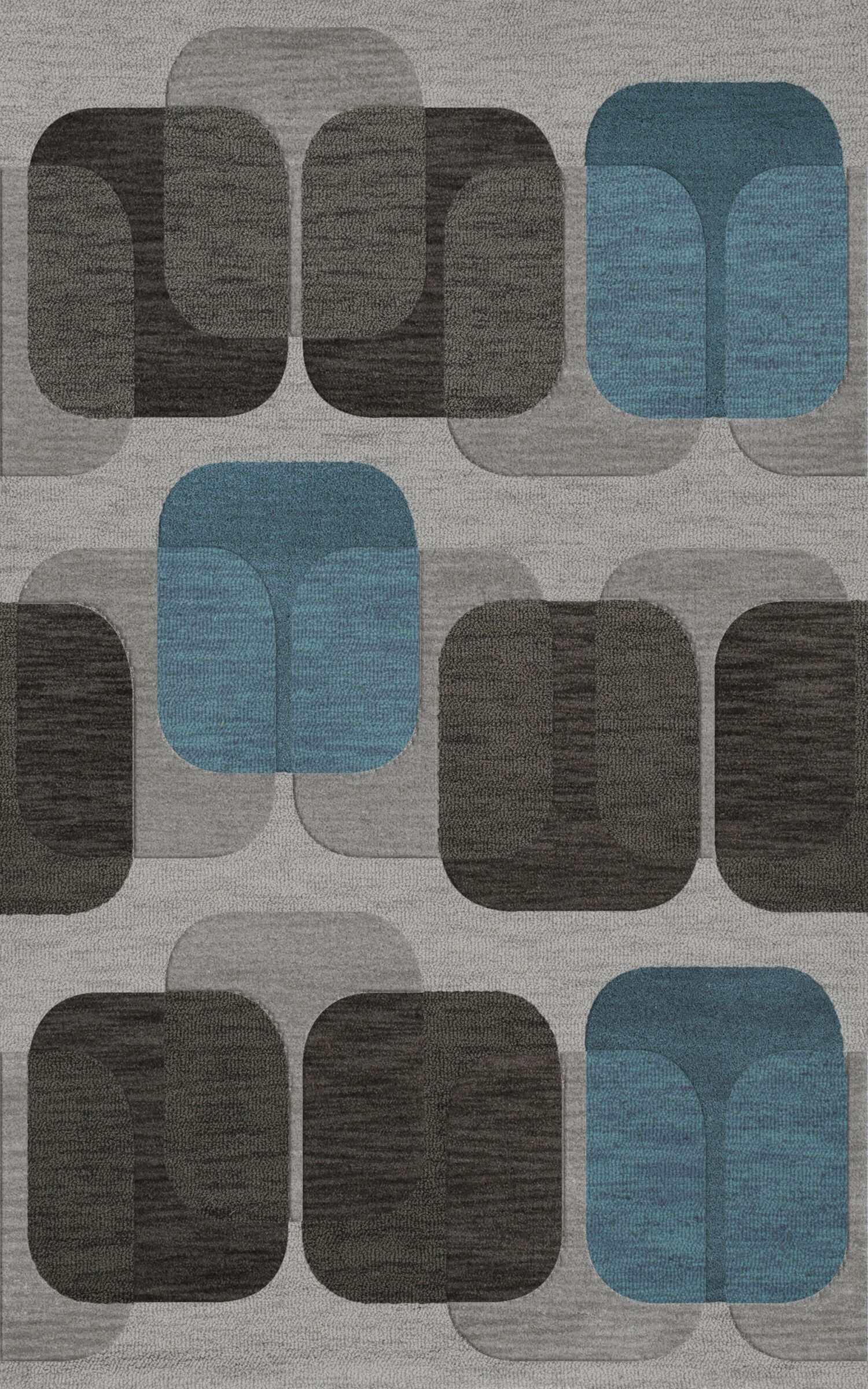 Bella Machine Woven Wool Gray/Black Area Rug Rug Size: Rectangle 5' x 8'