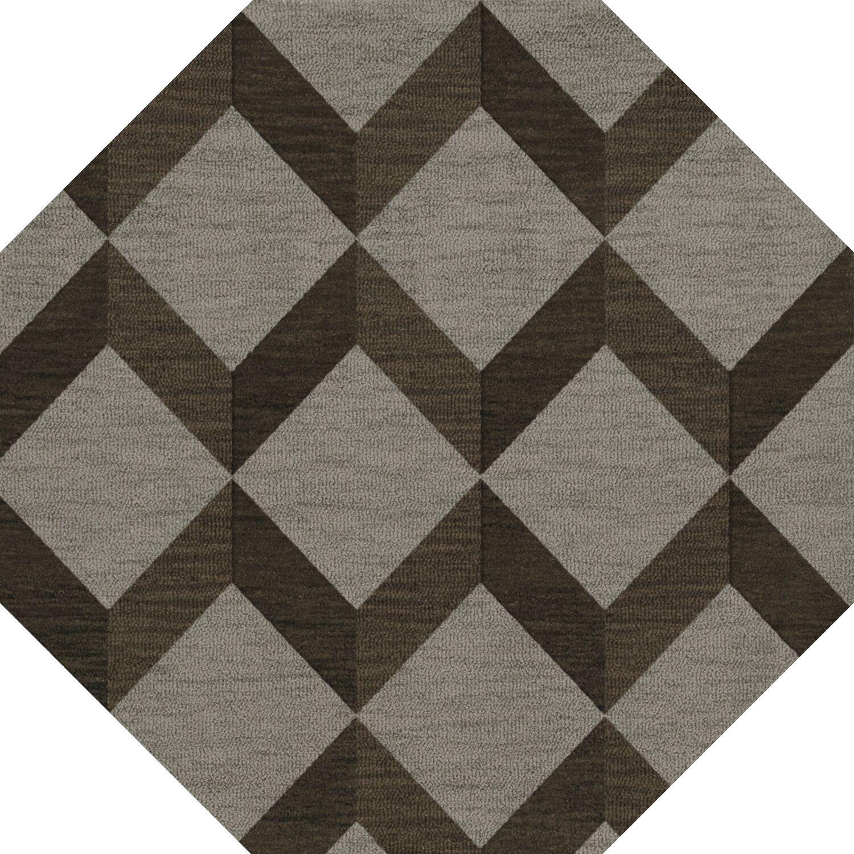 Bella Machine Woven Wool Brown/Gray Area Rug Rug Size: Octagon 10'