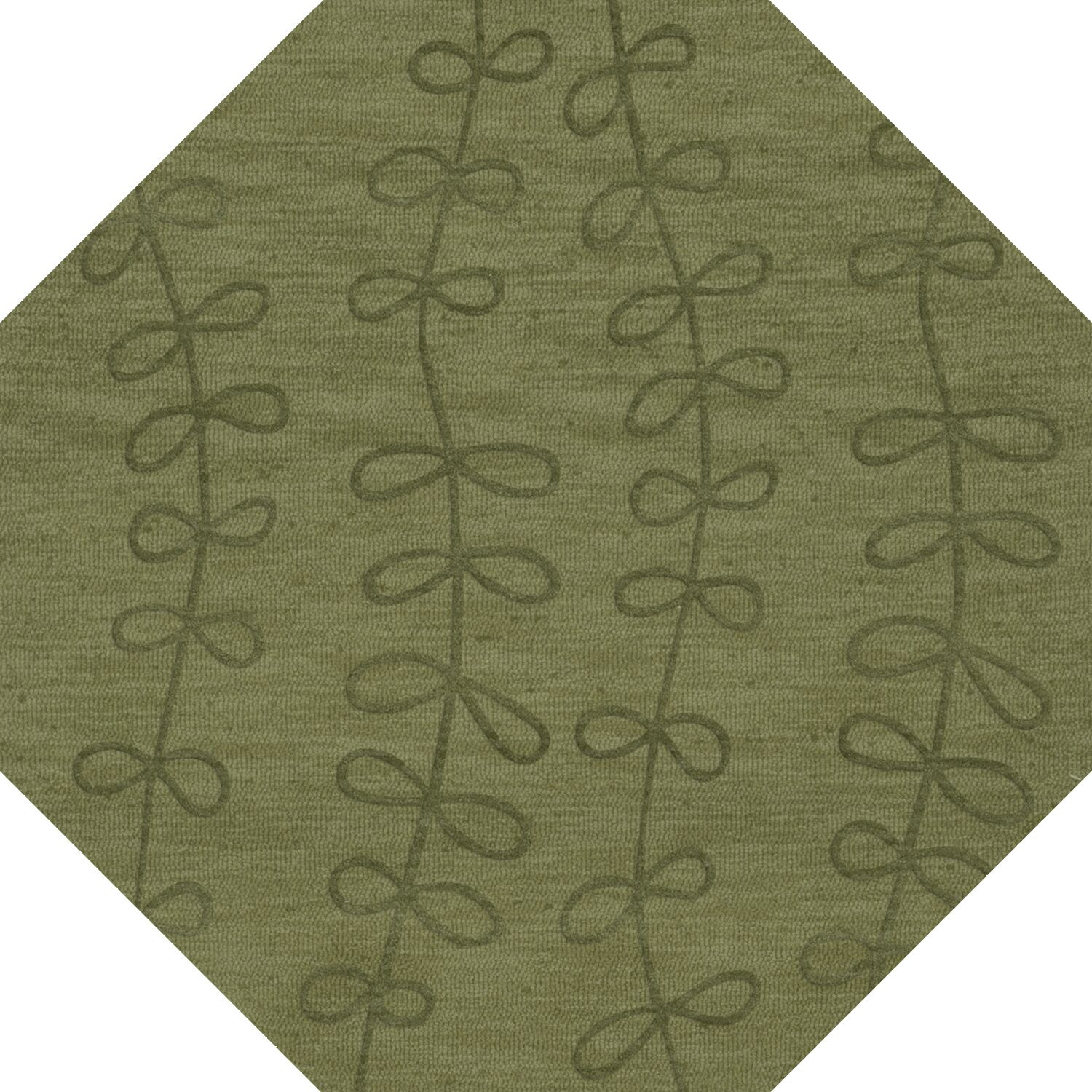 Bella Machine Woven Wool Green Area Rug Rug Size: Octagon 8'