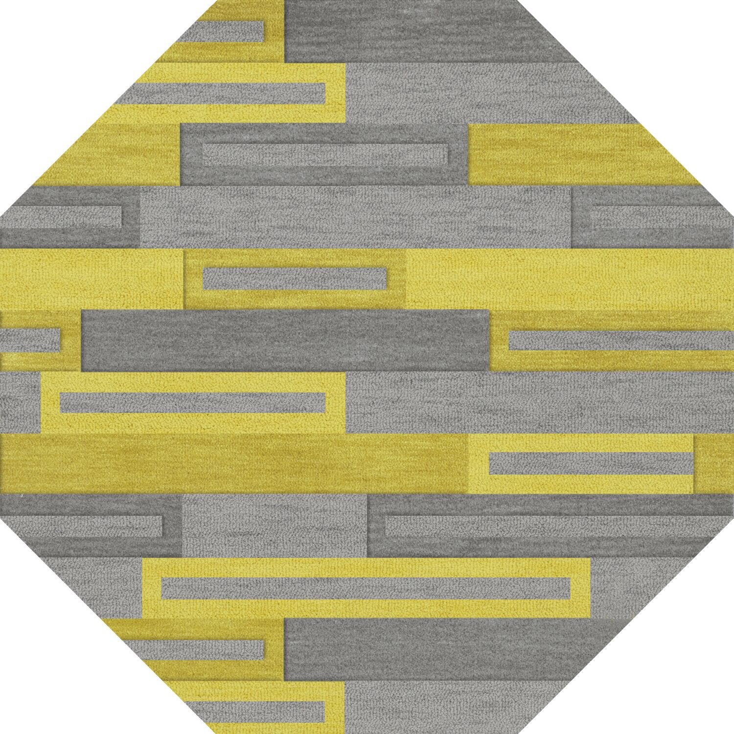 Bella Machine Woven Wool Gray/Yellow Area Rug Rug Size: Octagon 12'