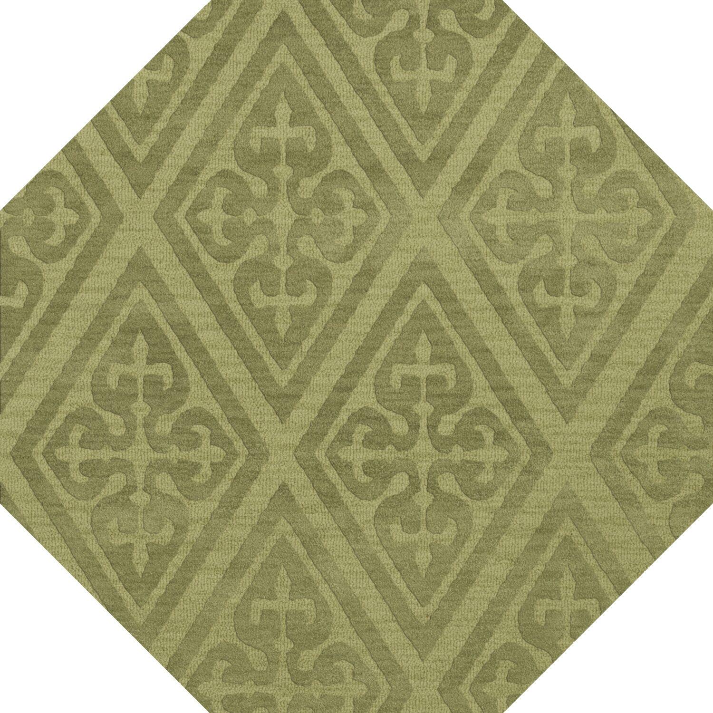 Bella Machine Woven Wool Green Area Rug Rug Size: Octagon 12'