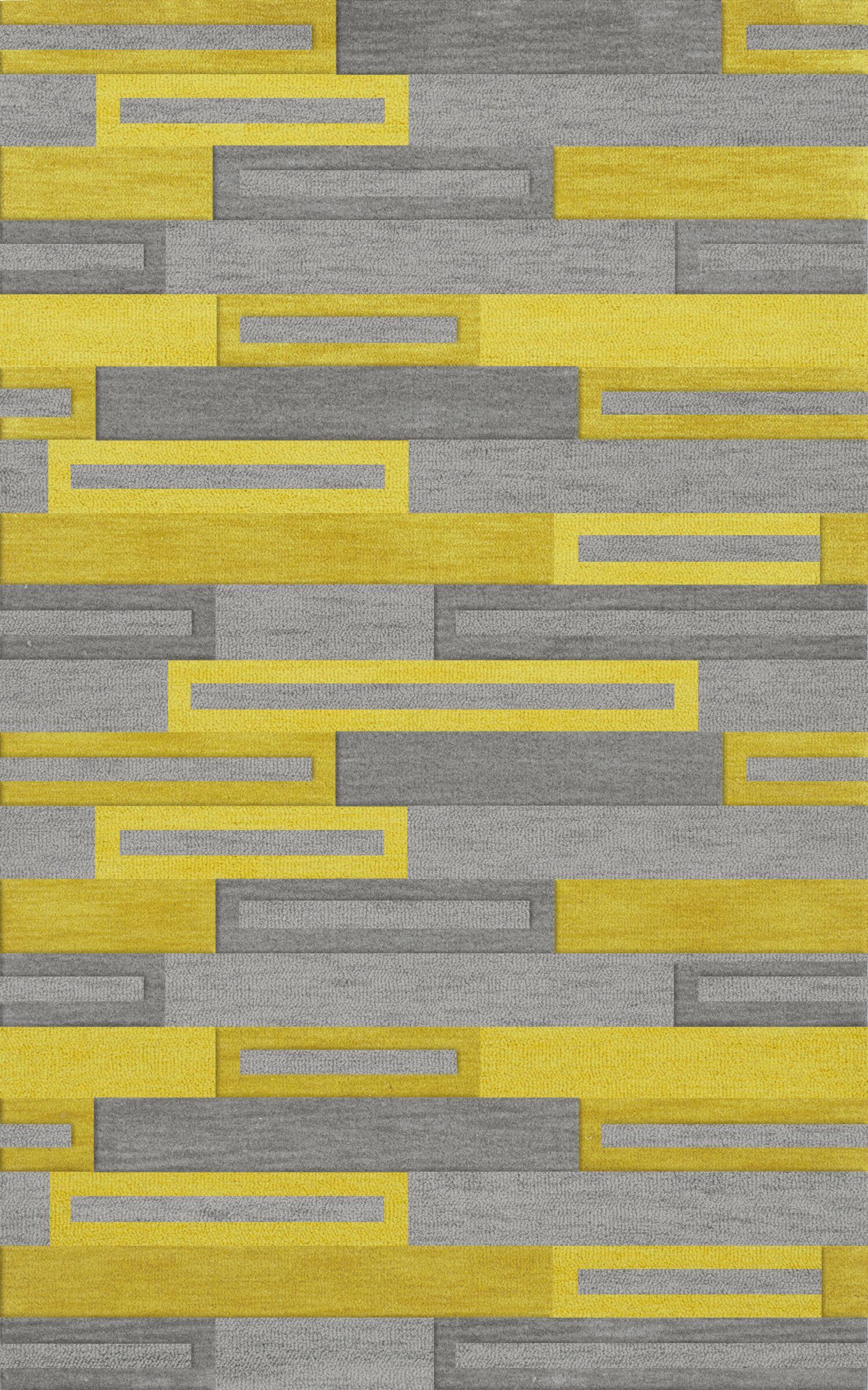 Bella Machine Woven Wool Gray/Yellow Area Rug Rug Size: Rectangle 3' x 5'
