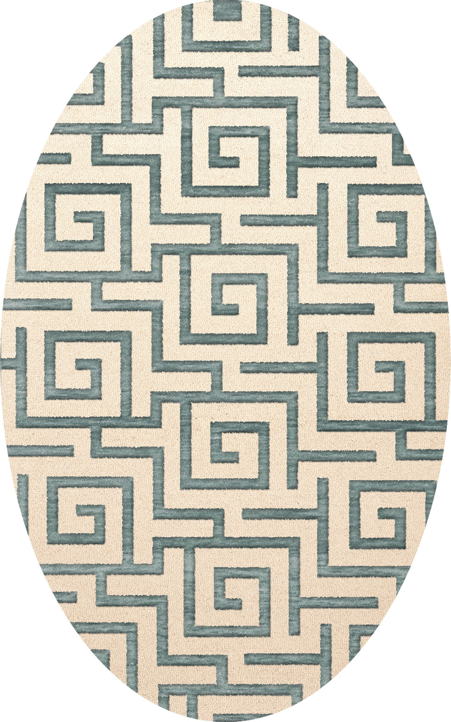 Bella Machine Woven Wool Beige/Gray Area Rug Rug Size: Oval 3' x 5'