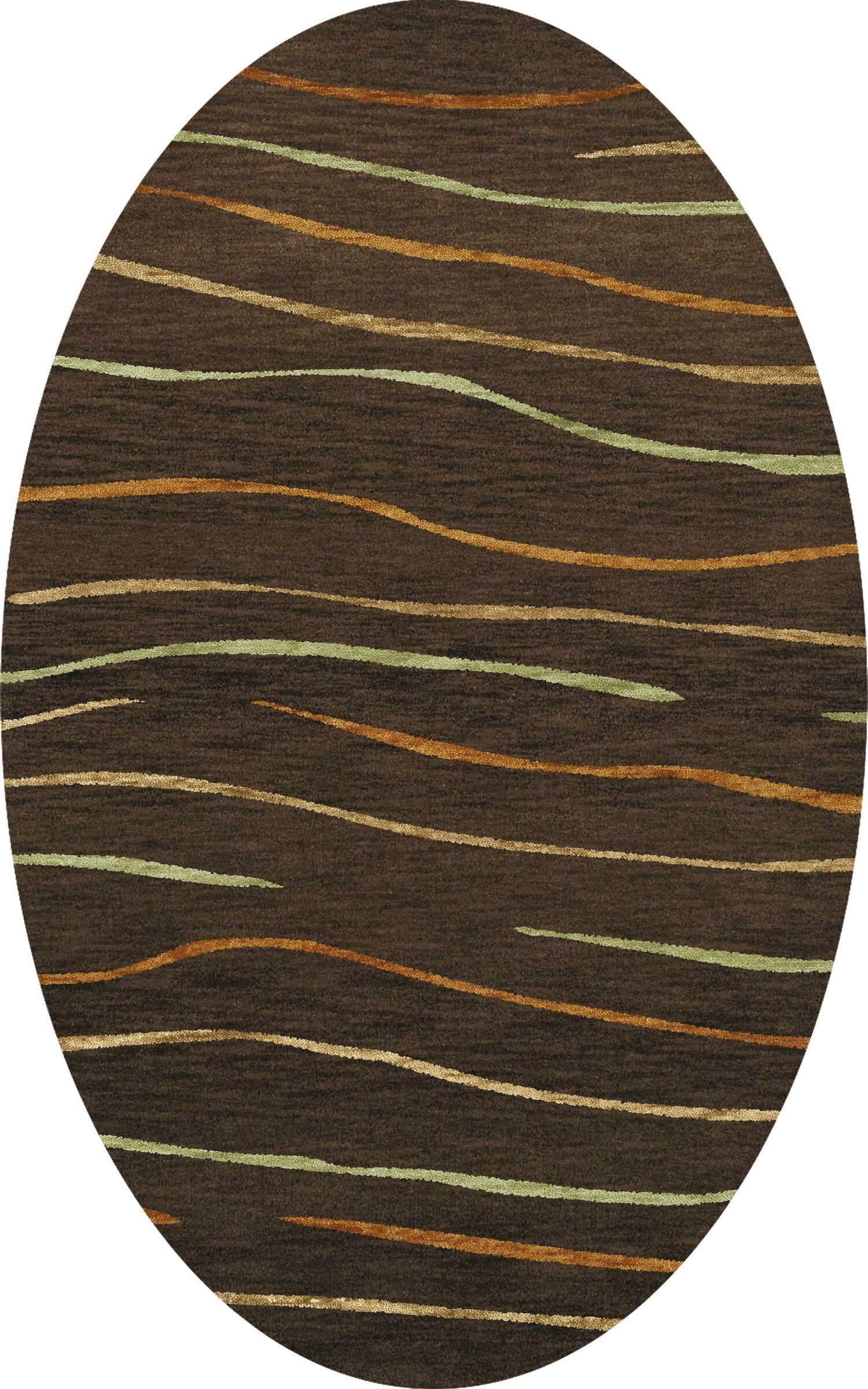 Bella Machine Woven Wool Brown Area Rug Rug Size: Oval 6' x 9'
