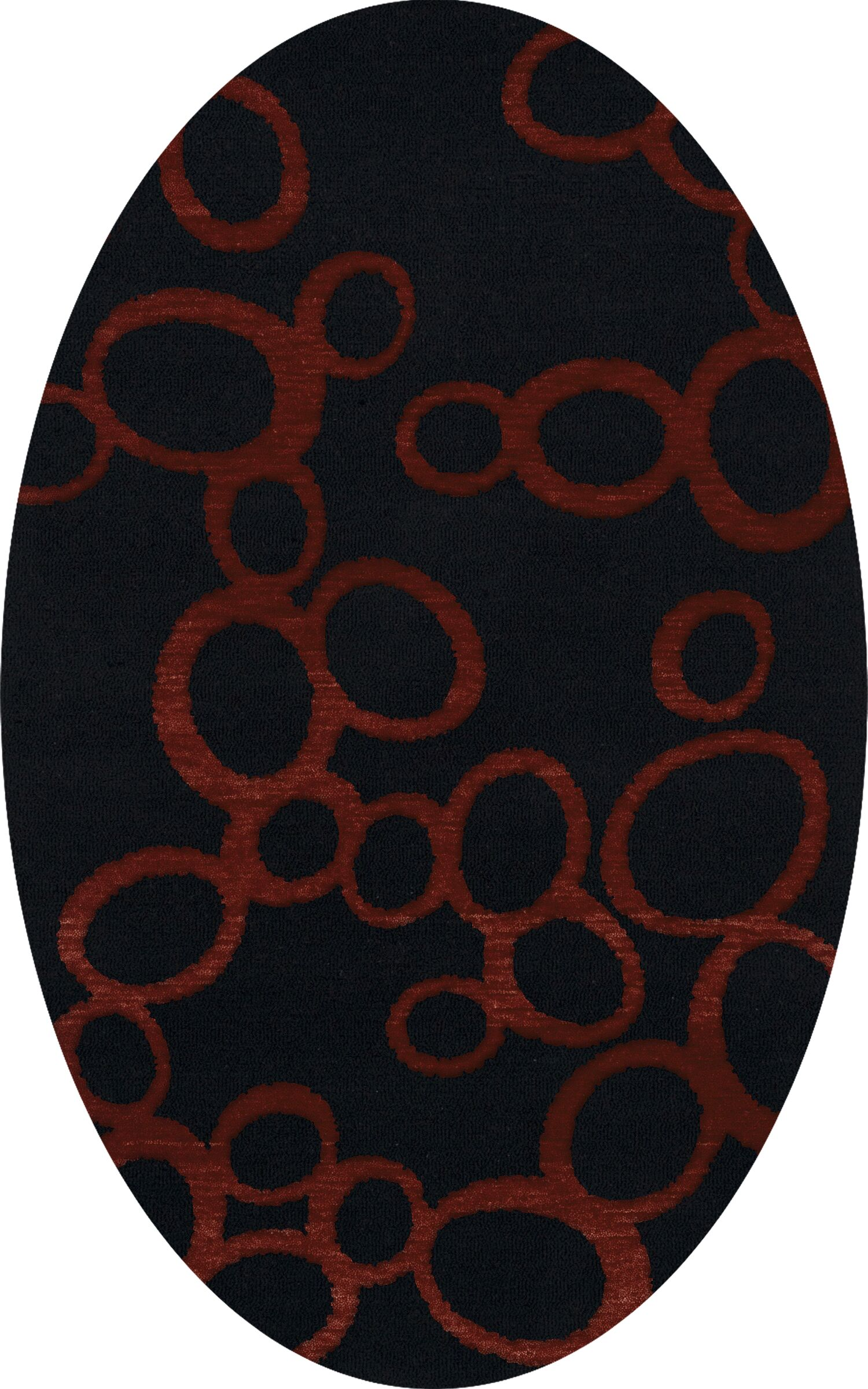 Bella Machine Woven Wool Black Area Rug Rug Size: Oval 4' x 6'