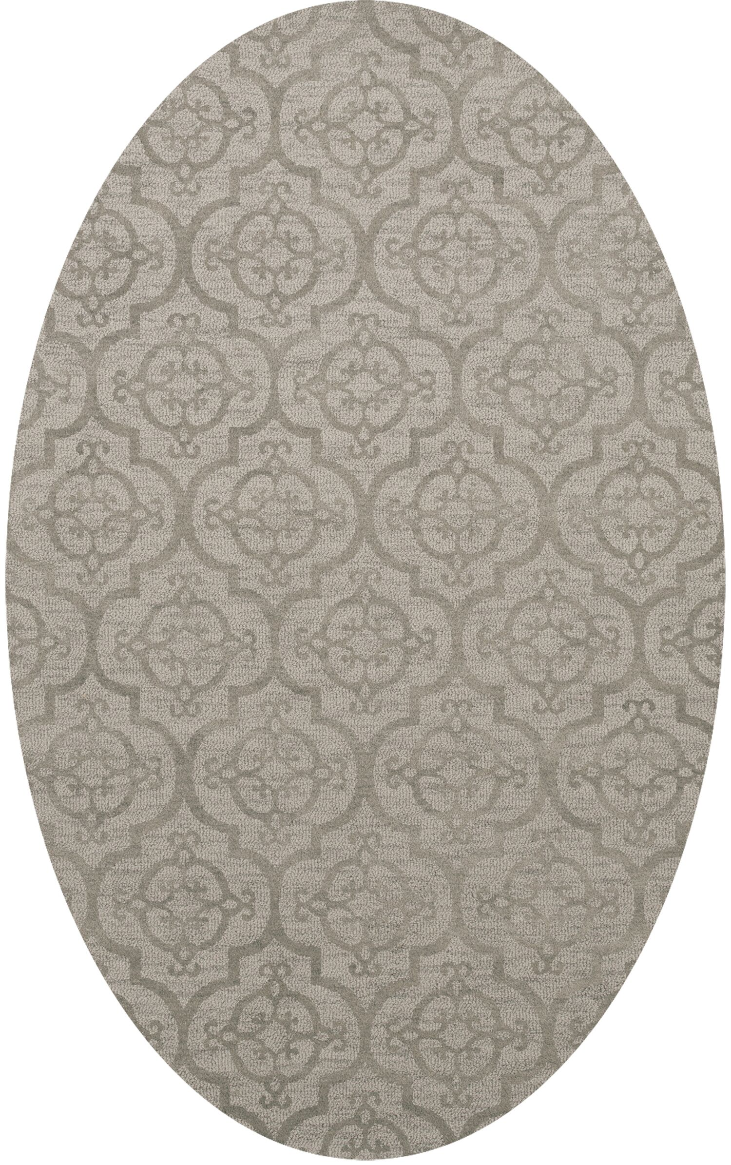 Bella Machine Woven Wool Silver Area Rug Rug Size: Oval 6' x 9'