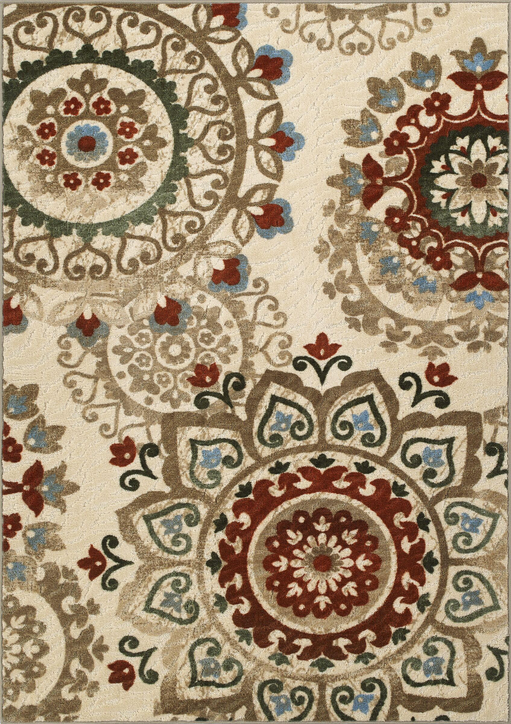 Horizons Beige/Red Area Rug Rug Size: Rectangle 3'3