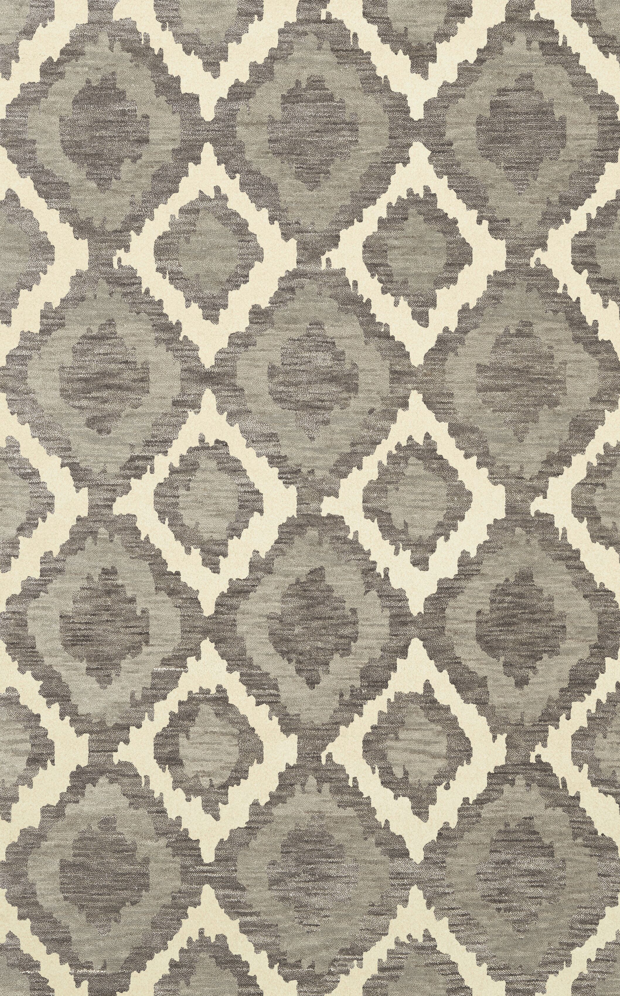 Bella Machine Woven Wool Gray Area Rug Rug Size: Oval 4' x 6'