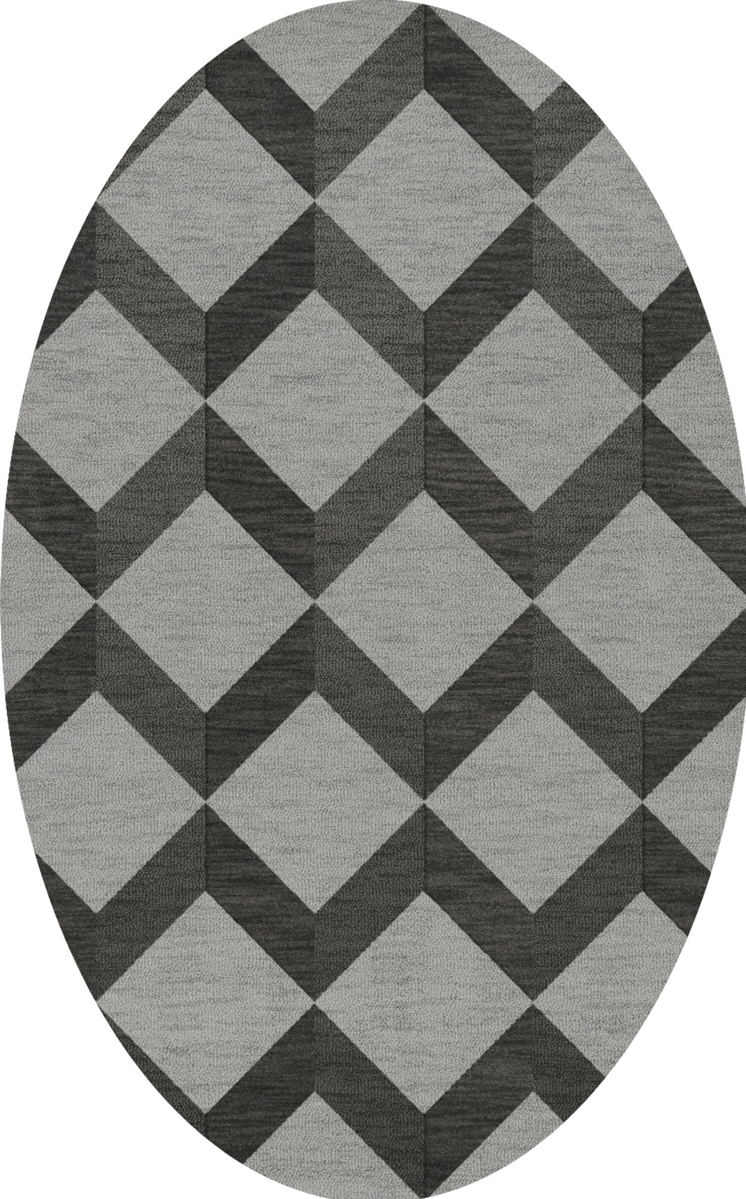 Bella Machine Woven Wool Gray/Black Area Rug Rug Size: Oval 10' x 14'