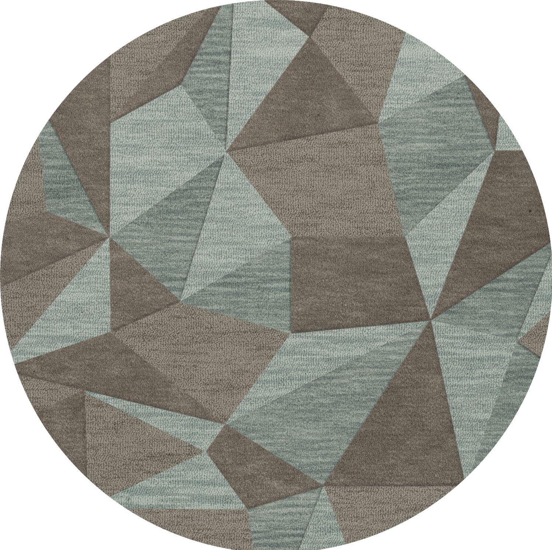 Bella Gray/Brown Area Rug Rug Size: Round 4'