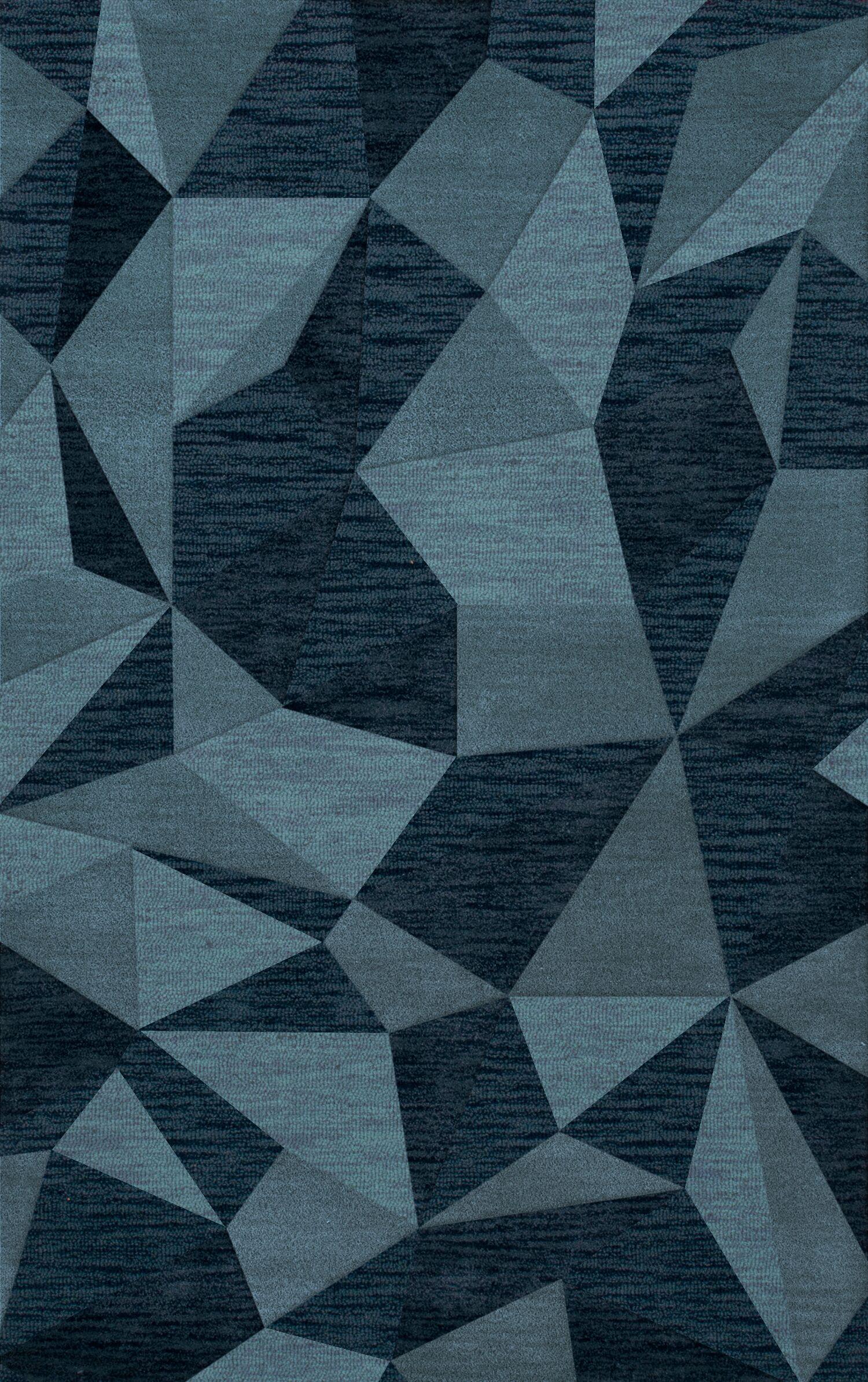 Bella Machine Woven Wool Blue Area Rug Rug Size: Rectangle 5' x 8'