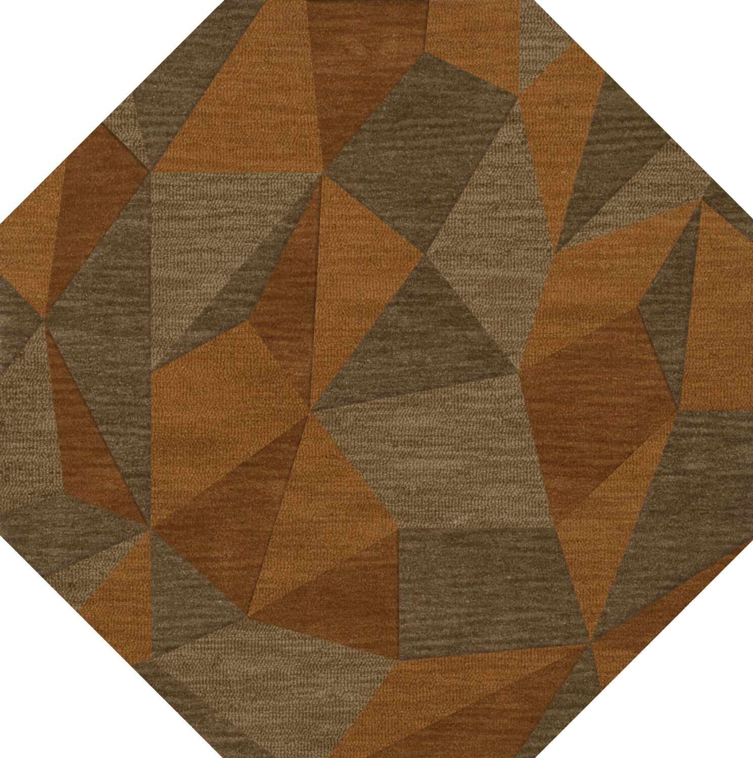 Bella Machine Woven Wool Orange/Brown  Area Rug Rug Size: Octagon 12'