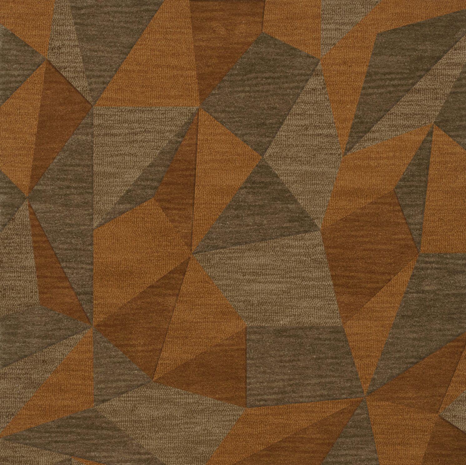 Bella Machine Woven Wool Orange/Brown  Area Rug Rug Size: Square 4'