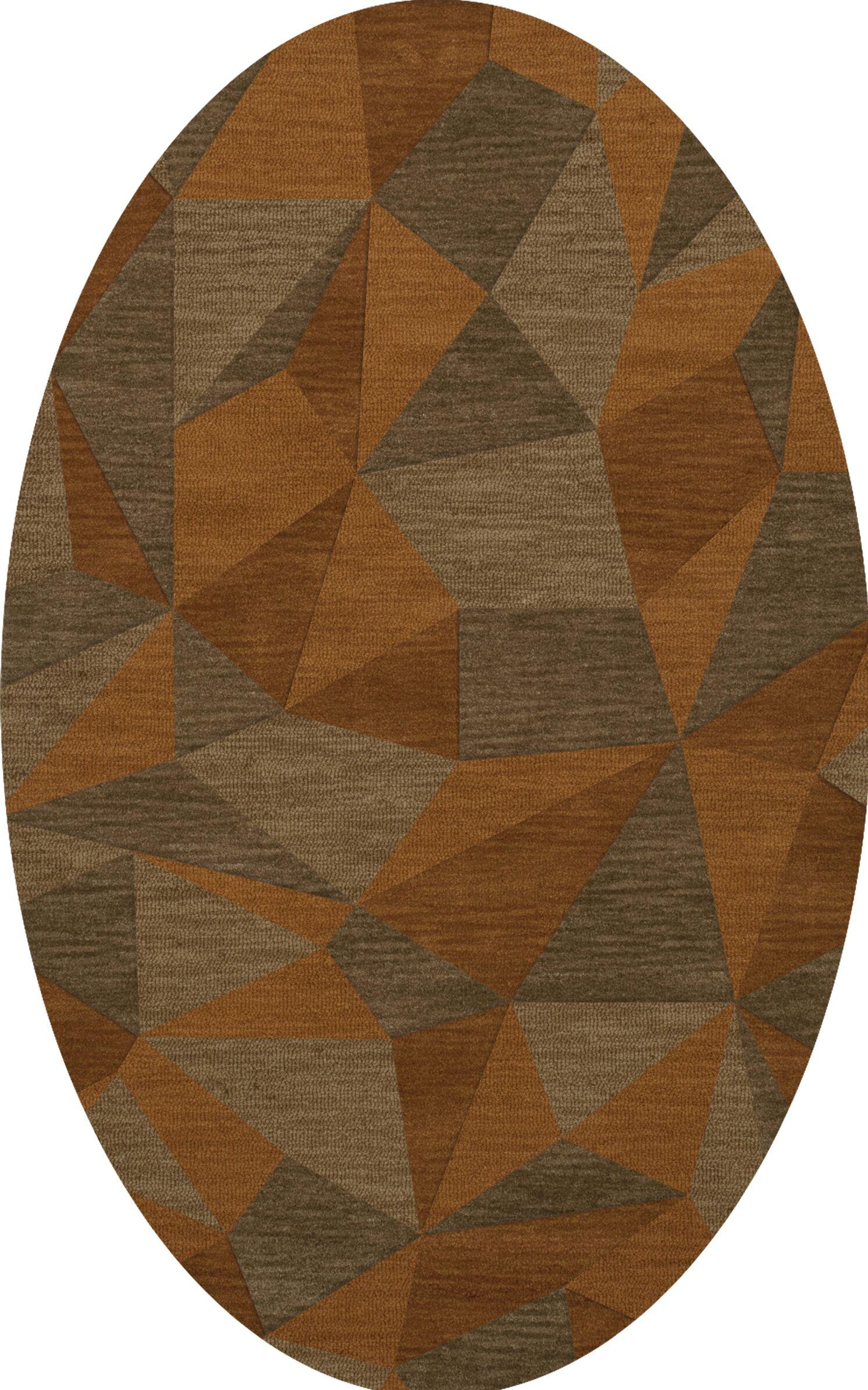 Bella Machine Woven Wool Orange/Brown  Area Rug Rug Size: Oval 10' x 14'
