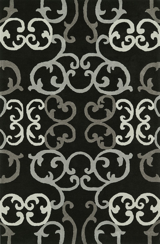 Journey Hand-Tufted Black Area Rug Rug Size: Rectangle 5' x 7'6