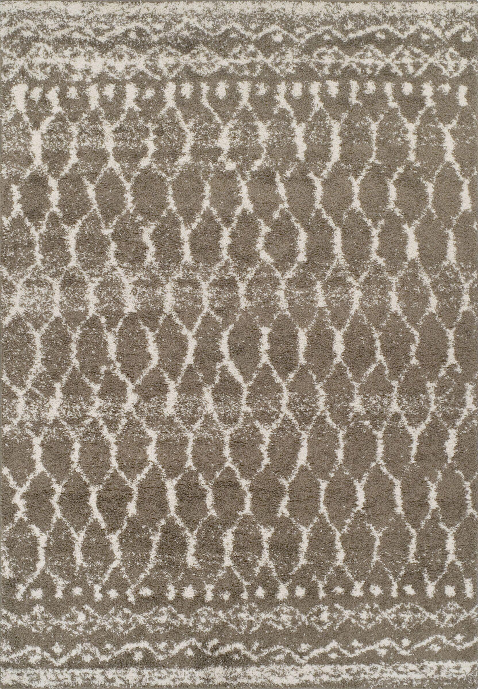 Thio Shag Taupe/Ivory Area Rug Rug Size: Rectangle 5'1