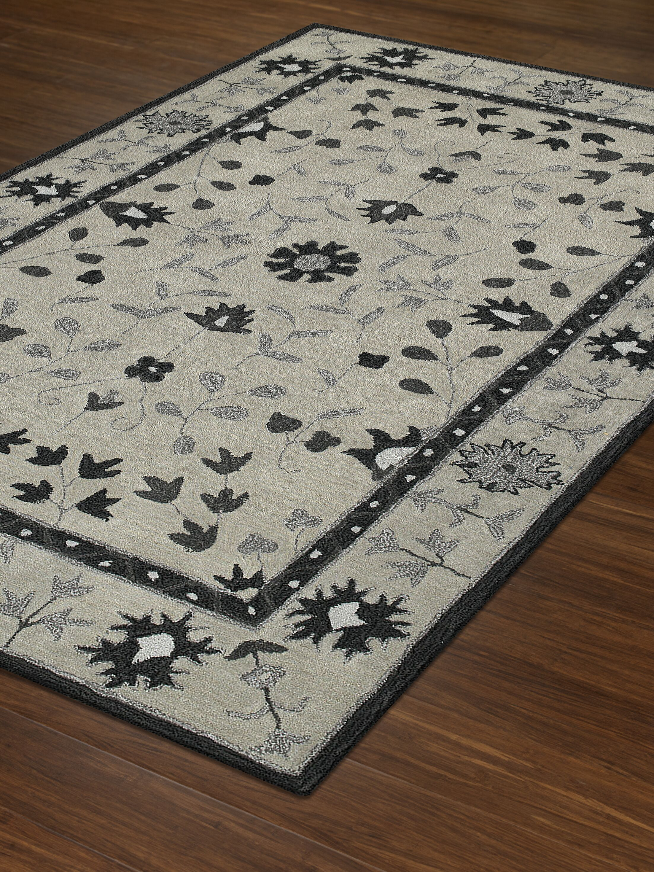 Derrek Hand-Tufted Silver Area Rug Rug Size: Rectangle 9' x 13'