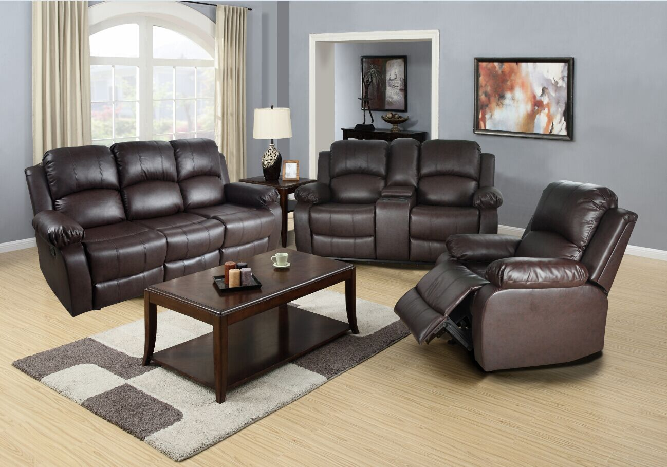 Harton Reclining 3 Piece Living Room Set Upholstery: Brown