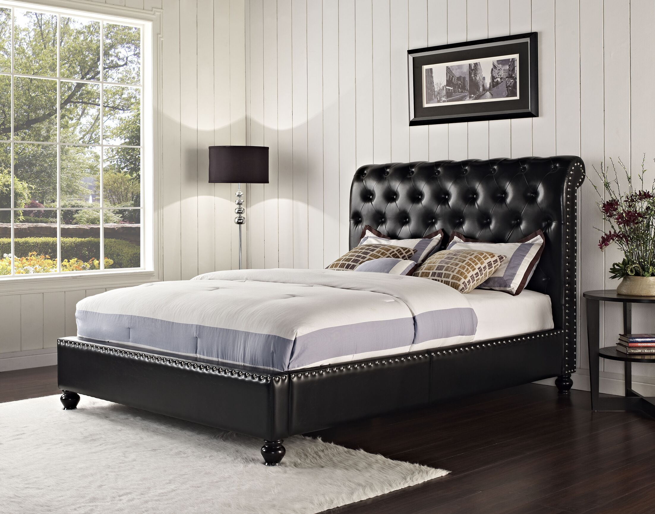 Stanton Upholstered Platform Bed Color: Black, Size: King