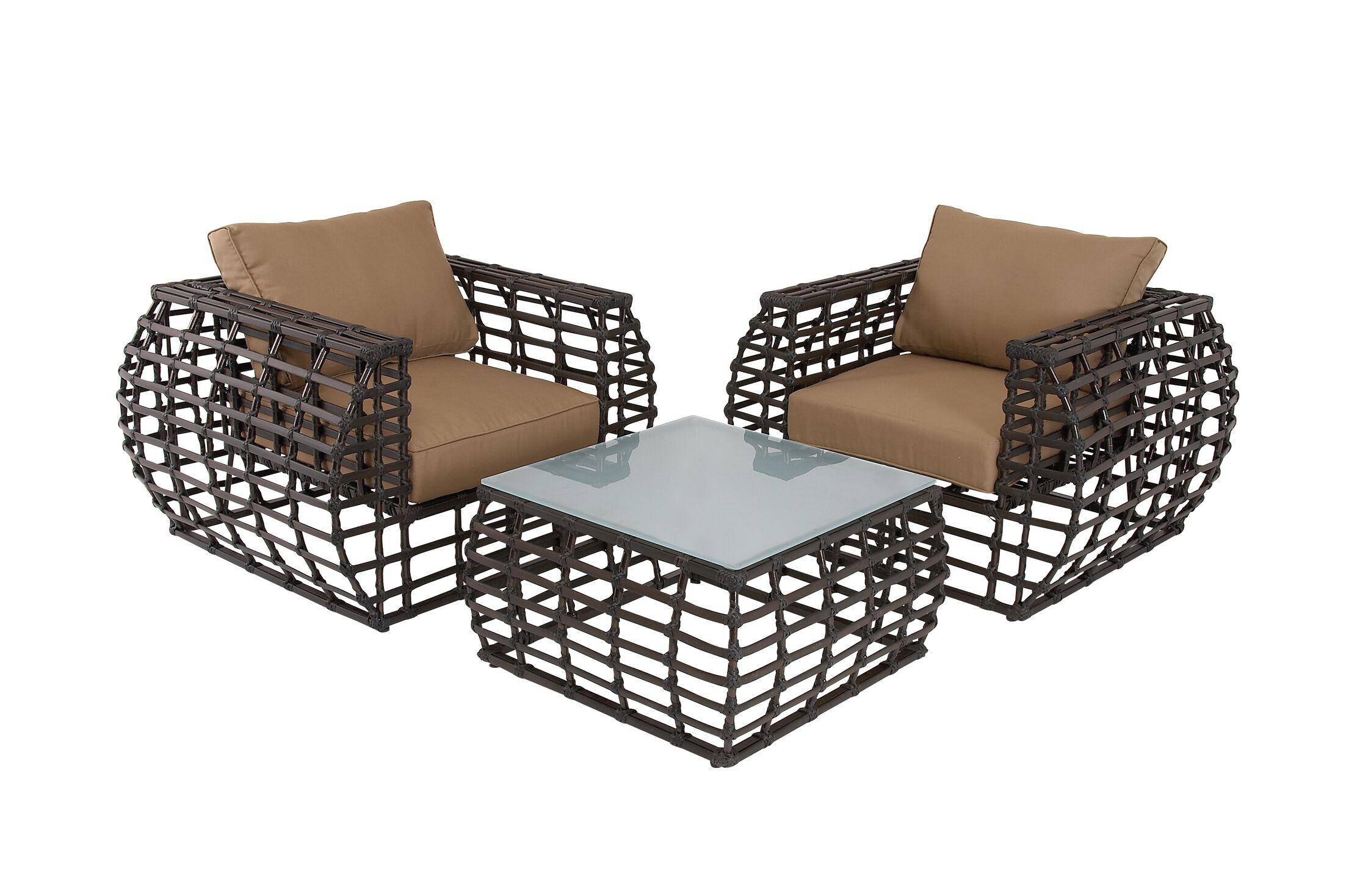3 Piece Rattan Sofa Set with Cushions