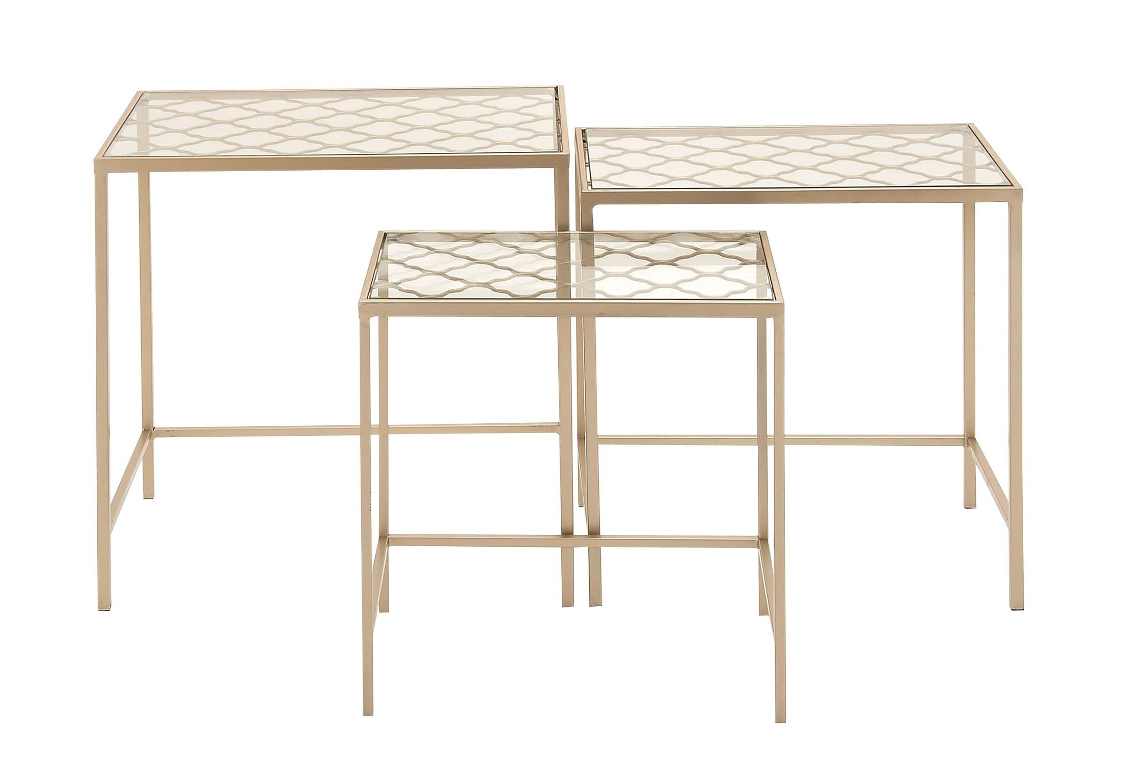 Metal/Glass 3 Piece Nesting Tables