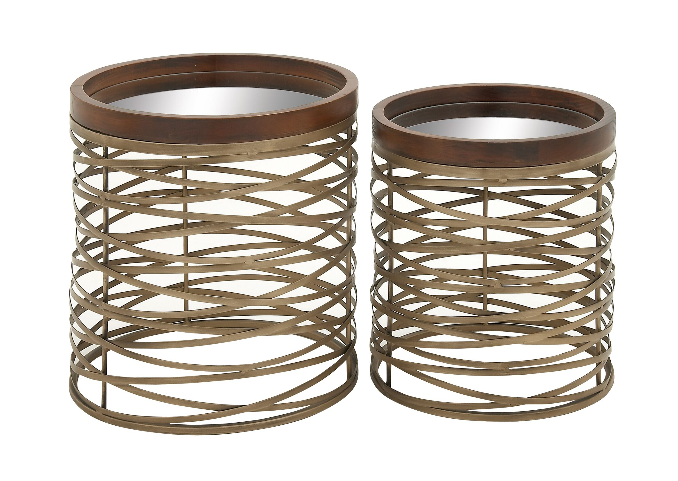 Metal and Mirror Tray 2 Piece End Tables