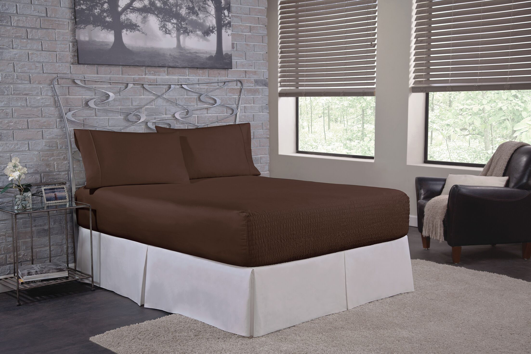 Solid 300 Thread Count Deep-Pocket Sheet Set Size: Full, Color: Chocolate