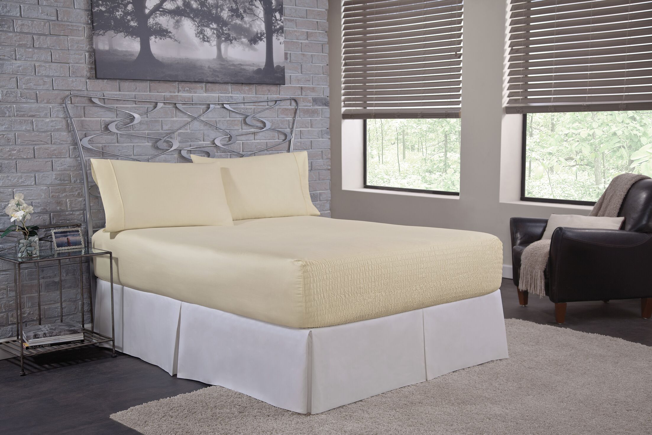 Solid 300 Thread Count Deep-Pocket Sheet Set Size: California King, Color: Ivory